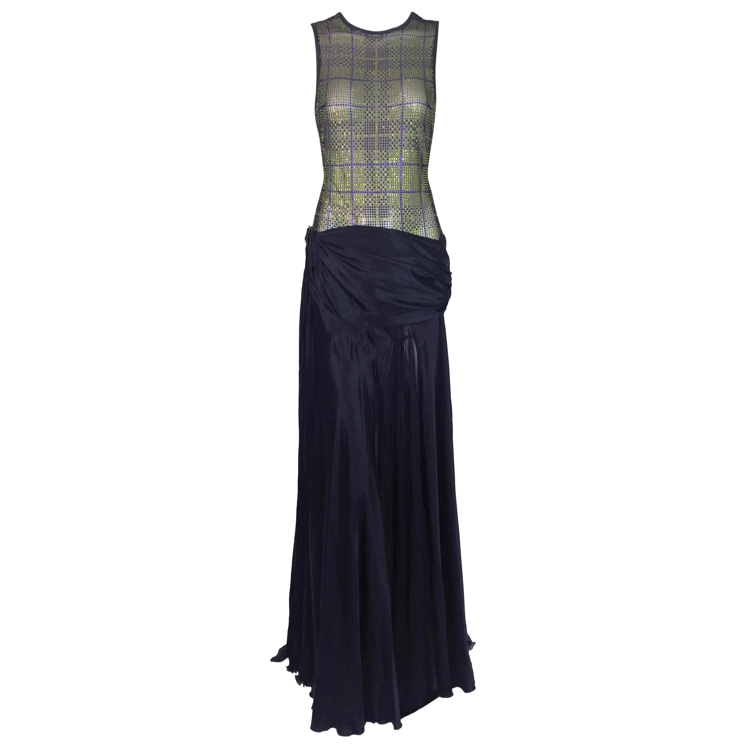 F/W 2004 Versace Runway Sheer Crystal Bodysuit & Navy Blue Long Skirt Ensemble