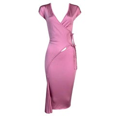 F/W 2004 Yves Saint Laurent Tom Ford Pink Wrap Dress