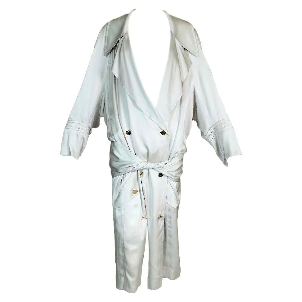 F/W 2004 Yves Saint Laurent Tom Ford Runway 20's Style Drop Waist Silver Coat Dr