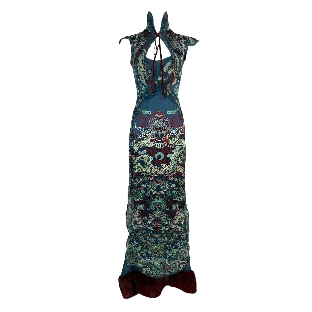 F/W 2004 Yves Saint Laurent Tom Ford Runway MET Chinoiserie Dragon Gown Dress
