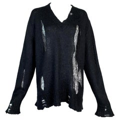 F/W 2005 Christian Dior John Galliano Black Knit Distressed Baggy Sweater