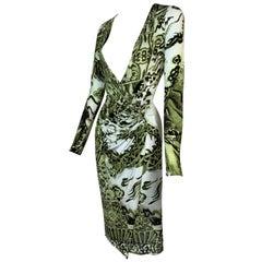 F/W 2005 Roberto Cavalli Chinoiserie Dragon Plunging Green High Slit Dress