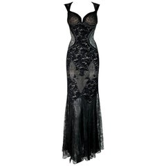 F/W 2005 Versace Runway Plunging Sheer Black Lace Gown Dress