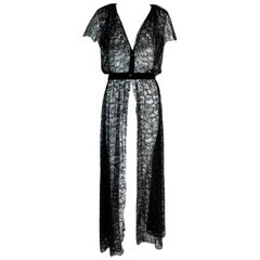 F/W 2006 Chanel 1920's Flapper Style Plunging Sheer Black Lace Dress