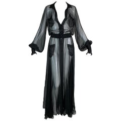 F/W 2006 Chanel Old Hollywood 40's Style Sheer Black Silk L/S Gown Dress
