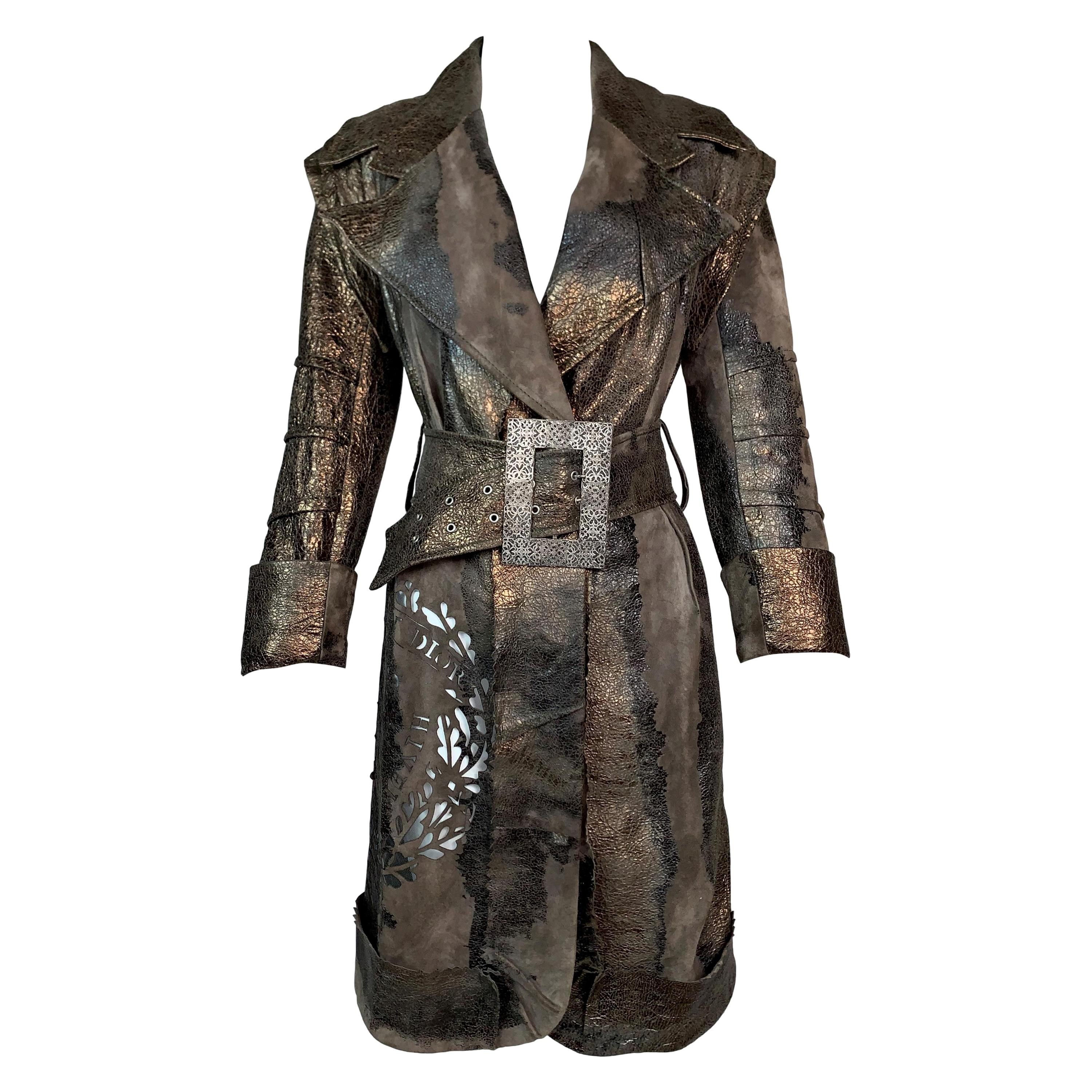 F/W 2006 Christian Dior John Galliano Bronze Leather Pirate Cut-Out Jacket