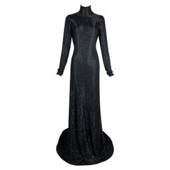 F/W 2006 Gucci Runway Black High Neck L/S Beaded Extra Long Gown Dress