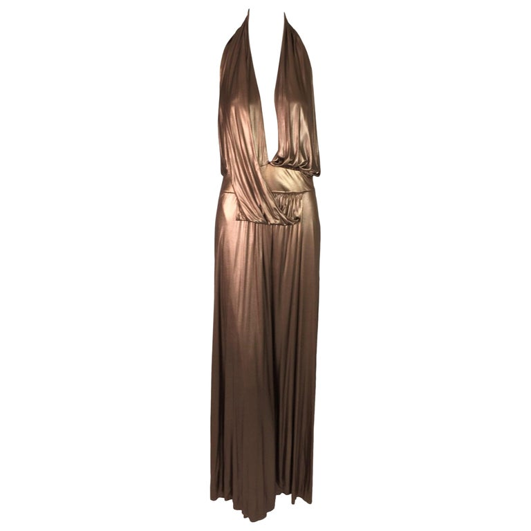 F/W 2006 Gucci Runway Plunging Liquid Gold High Slit Gown Dress For Sale