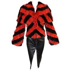 F/W 2009 Alexander McQueen Runway Savage Beauty Museum Fur Jacket Leather Skirt