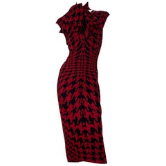F/W 2009 Iconic Alexander Mcqueen houndstooth print knit dress