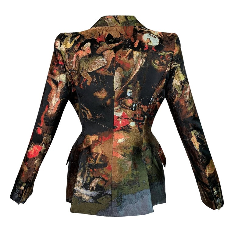 DESIGNER: F/W 2010 Alexander McQueen Angels & Demons collection  Please contact for more information and/or photos.  CONDITION: Good- light wear, no holes or stains.  FABRIC: Thick silk tapestry  COUNTRY MADE: Italy  SIZE: 42  MEASUREMENTS; provided