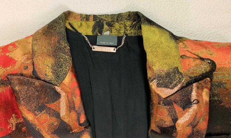 Black  F/W 2010 Alexander McQueen Angels & Demons Tapestry Silk Jacket