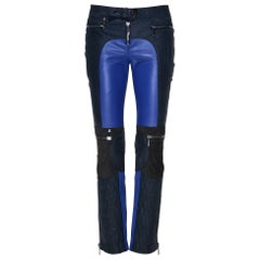 F/W 2010 L #13 VERSACE BLUE and NAVY BLUE MOTORCYCLE LEATHER PANTS size 38 - 2