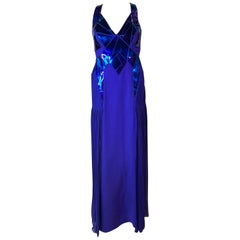 F/W 2010 Look # 38 VERSACE EMBELLISHED DARK BLUE GOWN DRESS 40 - 4