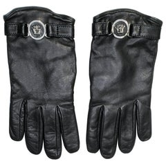 F/W 2011 look # 44 NEW VERSACE BLACK LEATHER GLOVES sz M