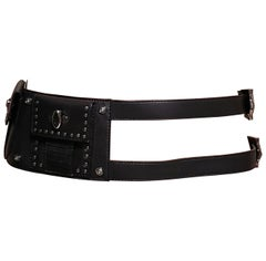 F/W 2011 Look #7 VERSACE BLACK LEATHER STUDDED BELT with MEDUSA BUCKLE