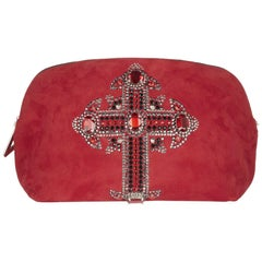 F/W 2012 look # 1 NEW VERSACE CRYSTAL EMBELLISHED RED SUEDE LEATHER CLUTCH