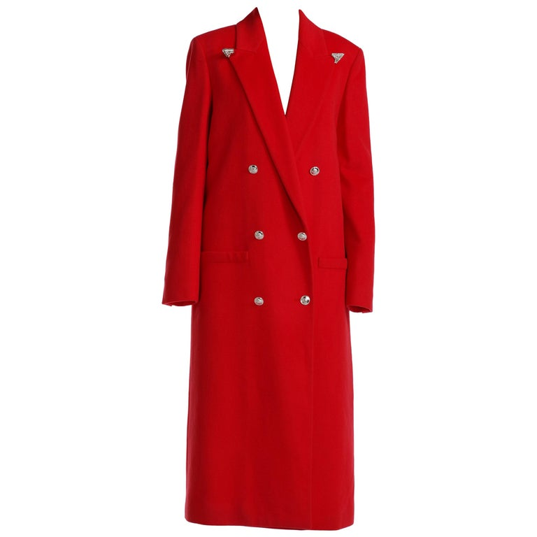 F/W 2013 Look#35 Versace Long Wool Cashmere Coat In Red  For Sale