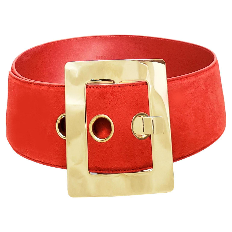 F/W 2015 L# 8 VERSACE RED SUEDE BELT w/GOLD TONE BUCKLE 85/34