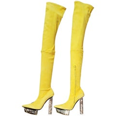 F/W 2015 Look # 10 NEW VERSACE YELLOW SUEDE BOOTS 40 - 10