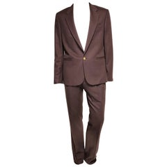 F/W 2015 look # 3 BRAND NEW VERSACE BROWN CASHMERE and SILK SUIT 50 - 40 (L)
