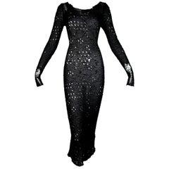 F/W 2015 Maison Martin Margiela Sheer Black Silk Distressed Mermaid Dress