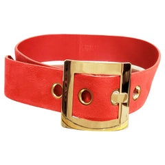 F/W 2015 VERSACE RED SUEDE BELT w/GOLD TONE BUCKLE