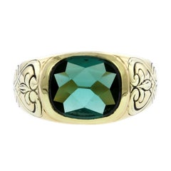 F. Walter Lawrence Art Nouveau 18 Karat Yellow Gold Green Tourmaline Ring