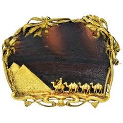 F. Walter Lawrence Phoenician Glass 14 Karat Gold Egyptian Revival Desert Brooch