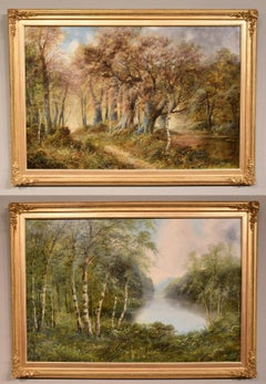 """Oil Painting Pair by F. Walters """"Spring on the Severn, Ringwood"""" """"Autumn, Ringwo"""