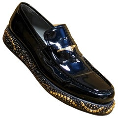 F2013 look #28 NEW VERSACE BLACK PATENT LEATHER LOAFERS SHOES with STUDS