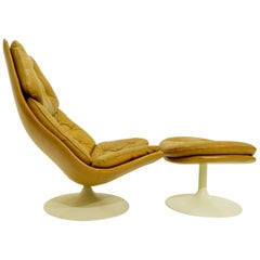 """F588"" Cognac Leather Lounge Chair + Ottoman By Geoffrey Harcourt For Artifort"