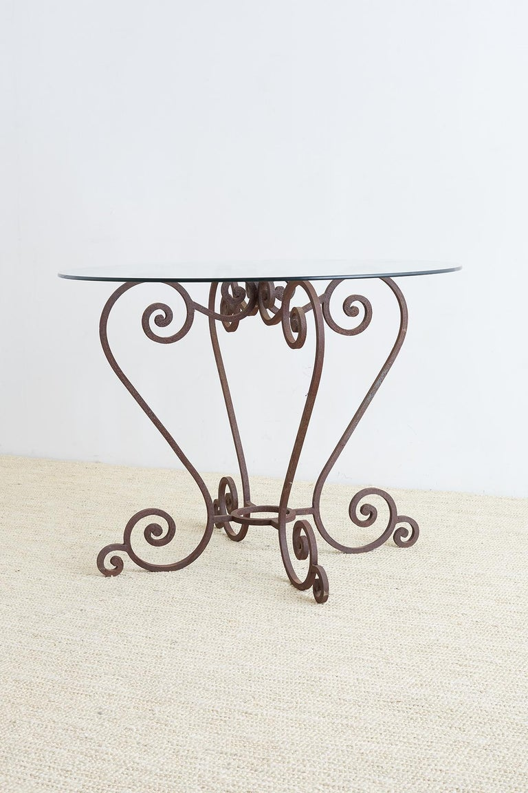 Hollywood Regency Scrolled Wrought Iron Breakfast or Patio Garden Table For Sale