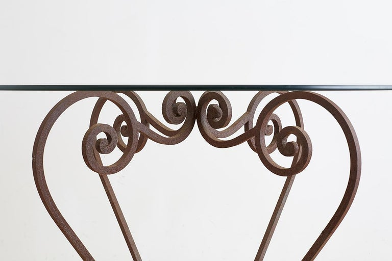 American Scrolled Wrought Iron Breakfast or Patio Garden Table For Sale