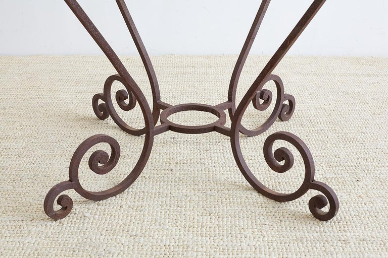 Hand-Crafted Scrolled Wrought Iron Breakfast or Patio Garden Table For Sale