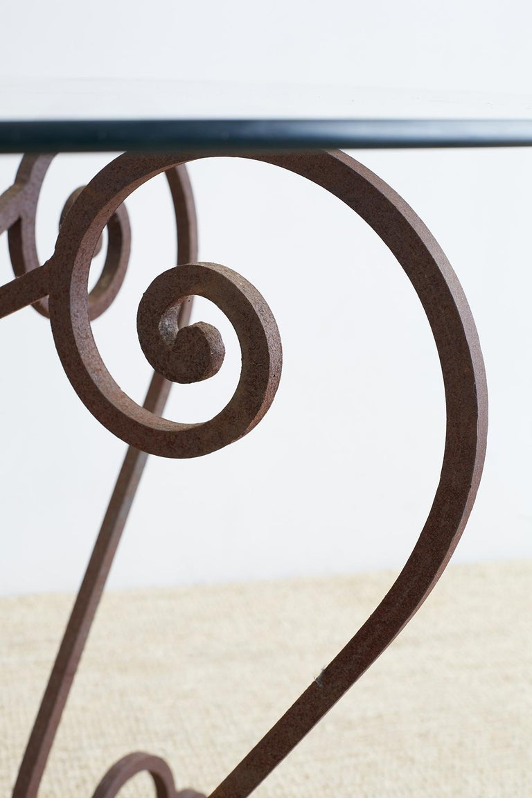 Scrolled Wrought Iron Breakfast or Patio Garden Table In Good Condition For Sale In Oakland, CA