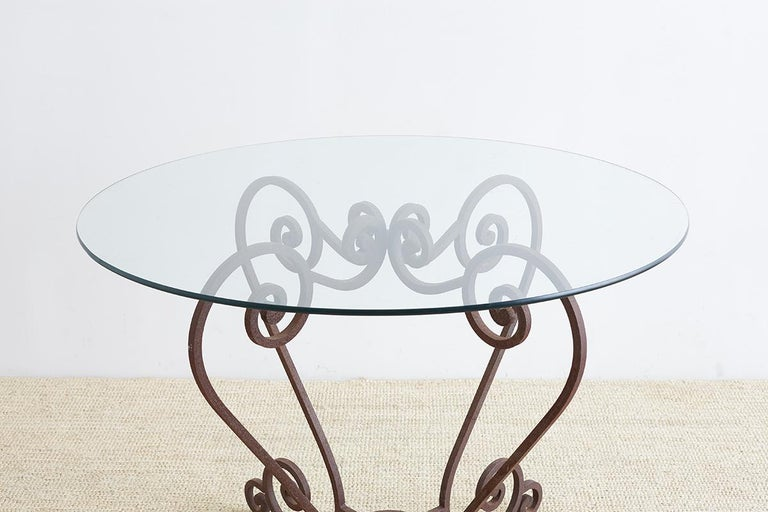 20th Century Scrolled Wrought Iron Breakfast or Patio Garden Table For Sale