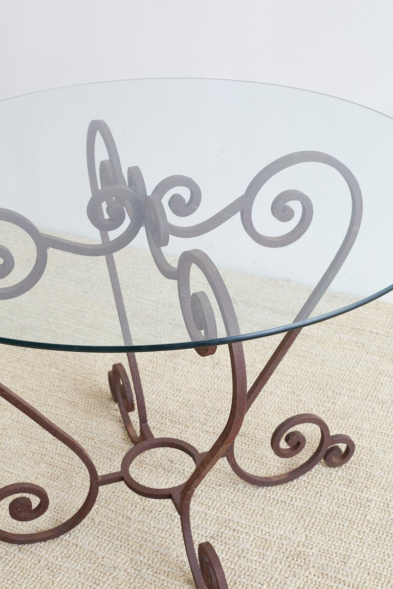 Scrolled Wrought Iron Breakfast or Patio Garden Table For Sale 2