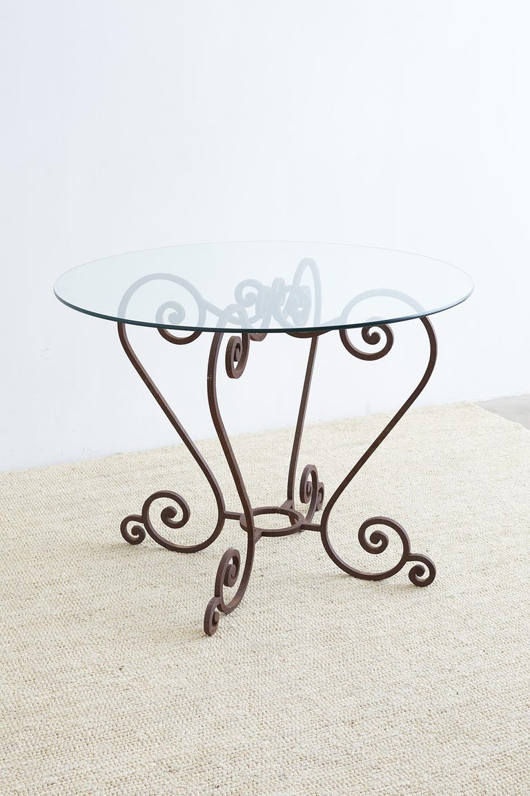 Scrolled Wrought Iron Breakfast or Patio Garden Table For Sale 3