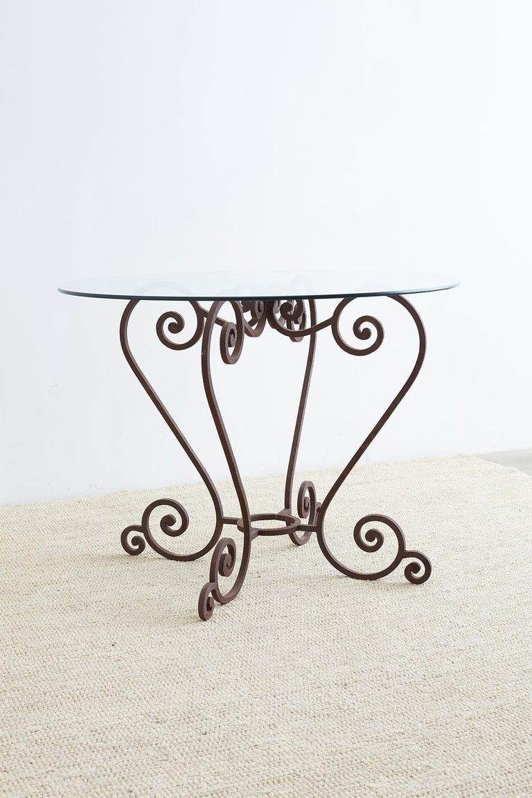 Scrolled Wrought Iron Breakfast or Patio Garden Table For Sale 4