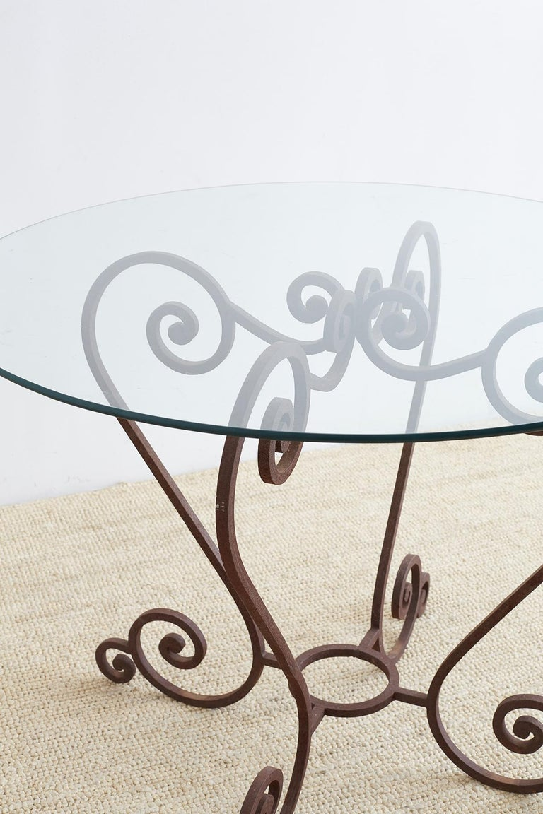 Scrolled Wrought Iron Breakfast or Patio Garden Table For Sale 5