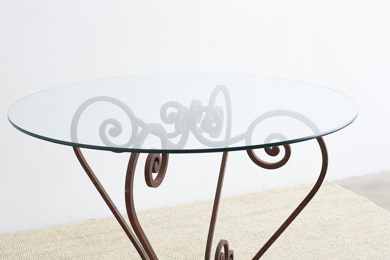 Scrolled Wrought Iron Breakfast or Patio Garden Table For Sale 6
