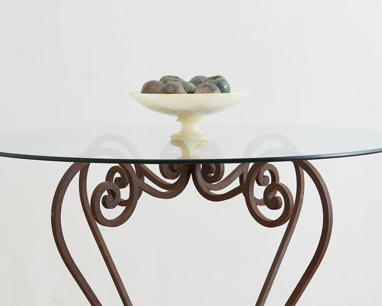 Scrolled Wrought Iron Breakfast or Patio Garden Table For Sale 8