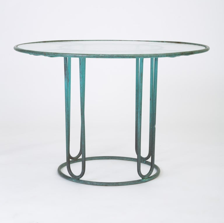 American Walter Lamb Round Patio Dining Table with Glass Top For Sale