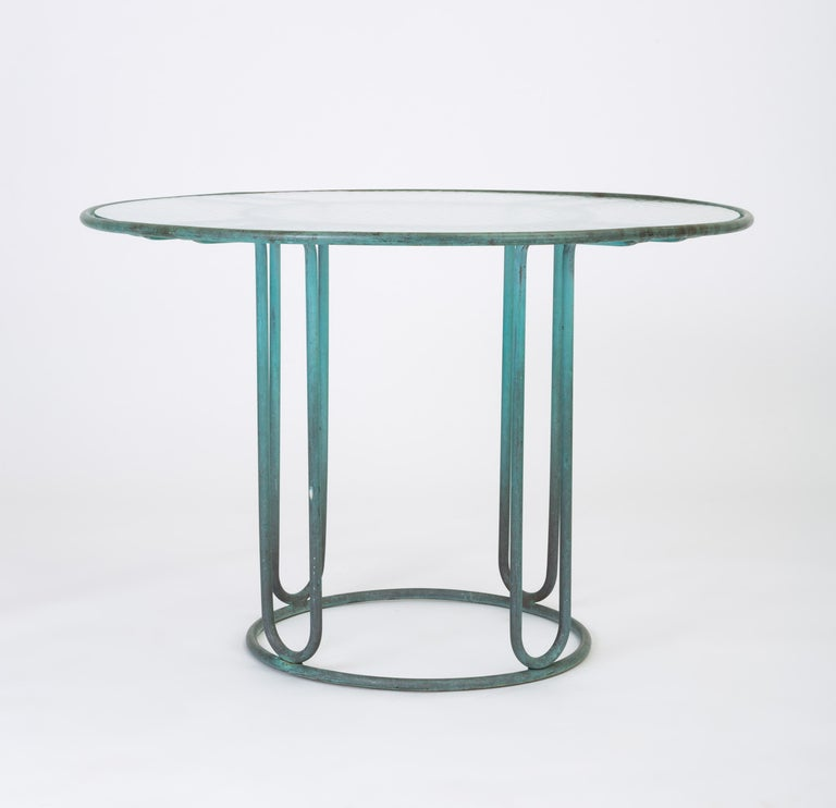 Hammered Walter Lamb Round Patio Dining Table with Glass Top For Sale