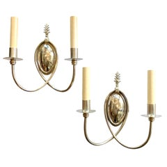 Pair of English Silver-Plated Sconces