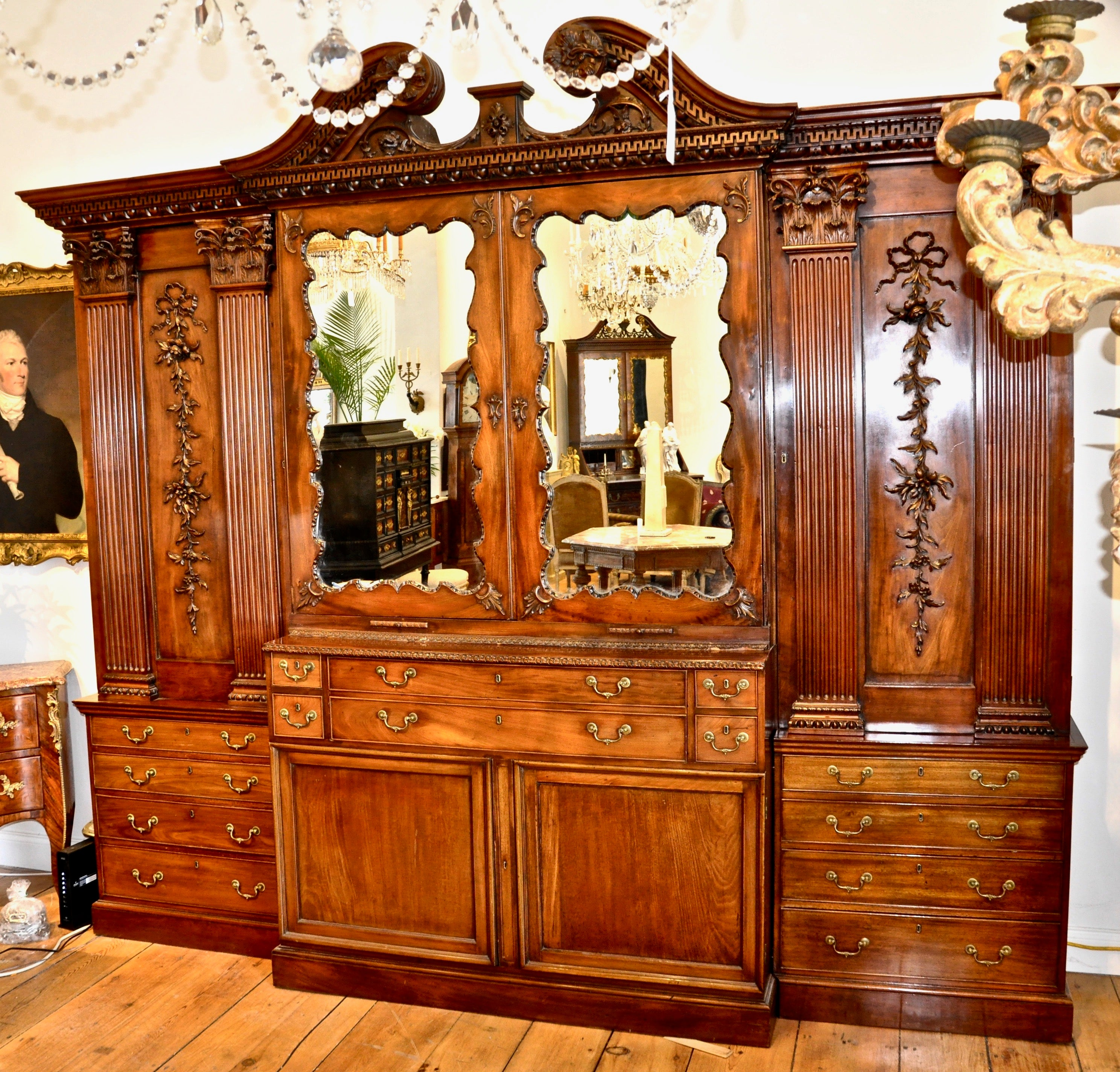 Cupboard Italian Furniture Wooden Brass Antique Style Living Room 4 Panels Mild And Mellow Cabinets & Cupboards Antiques