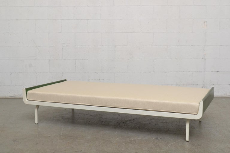 Mid-Century Modern Midcentury Green Teak and Metal Auping Daybed For Sale