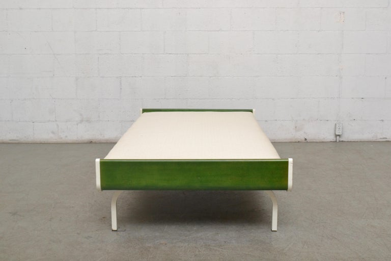Dutch Midcentury Green Teak and Metal Auping Daybed For Sale
