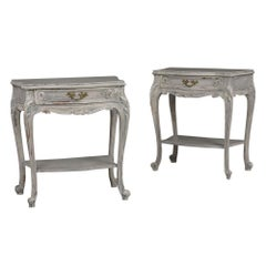 Vintage Set of Two Painted French Louis XV-Style End Tables